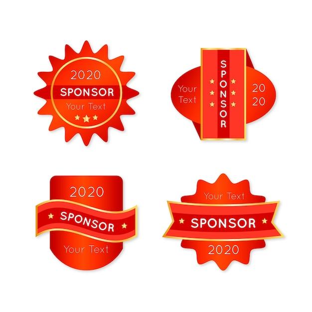 Vermelho com adesivos dourados do patrocinador Vetor grátis