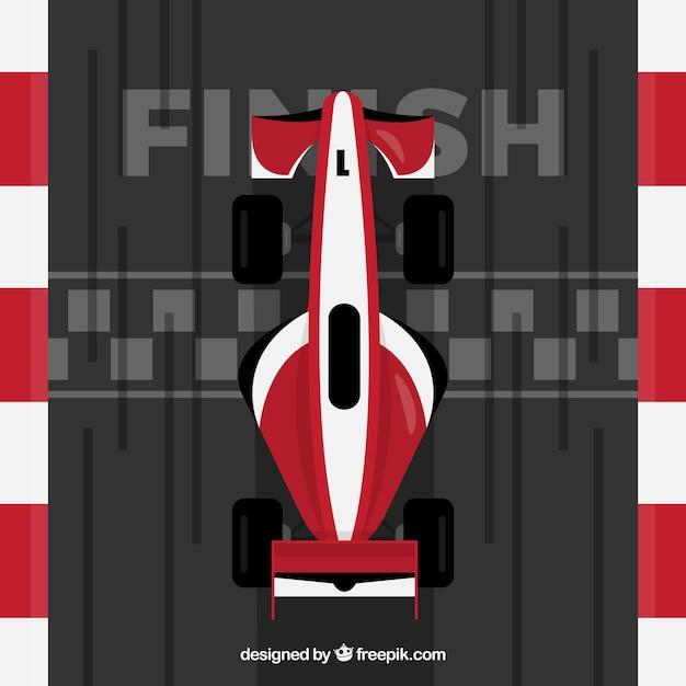 Vermelho e branco f1 carro de corrida cruza a linha de chegada Vetor grátis