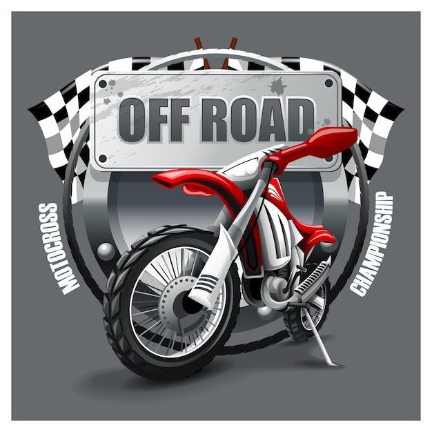 Vermelho extremo off road moto Vetor Premium