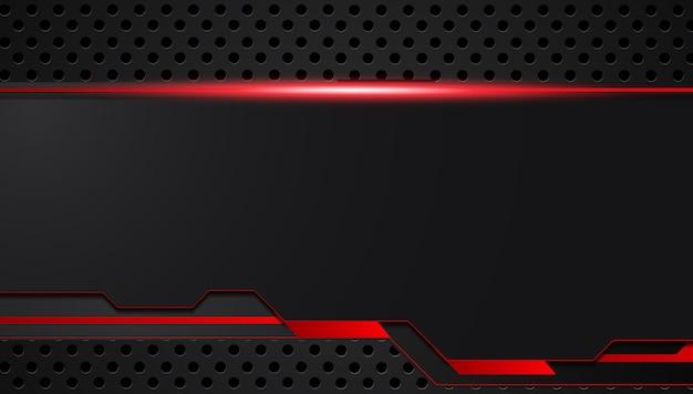 Vermelho preto abstrato metálico quadro layout design tecnologia inovação conceito fundo Vetor Premium