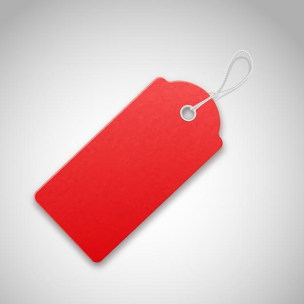 Vermelho realista texturizado vender tag com corda. Vetor Premium
