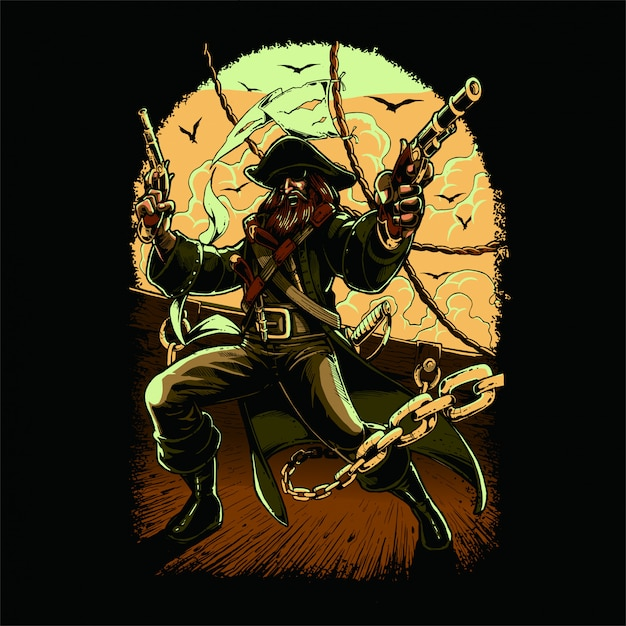 Versão colorida pirata Vetor Premium