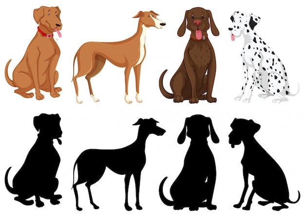 Versão silhueta, cor e contorno de cães isolados Vetor grátis
