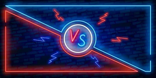 Versus design de tela em estilo neon. Vetor Premium