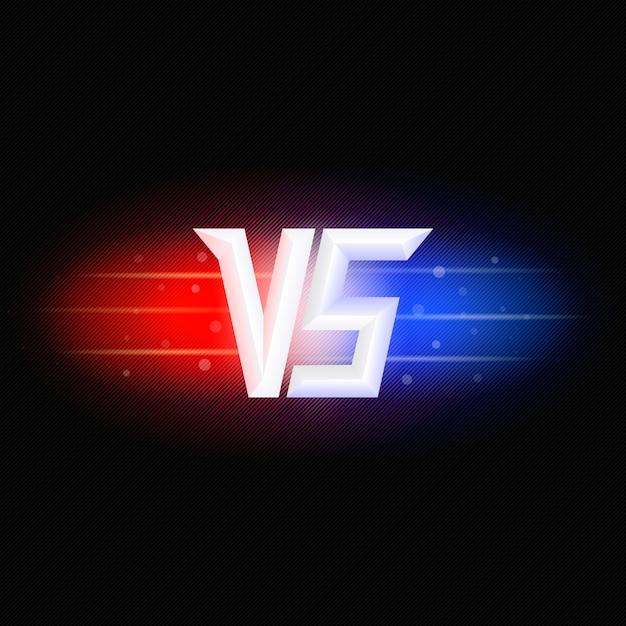 Versus logotipo isolado. símbolo de competição vs. luzes vermelhas e azuis. Vetor Premium
