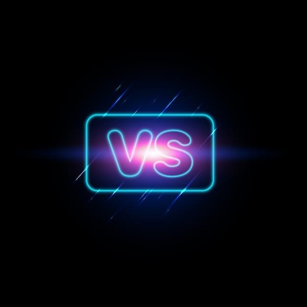 Versus tela. moderno versus fundo com estilo de luxo. desafie a composição com efeito neon. Vetor Premium
