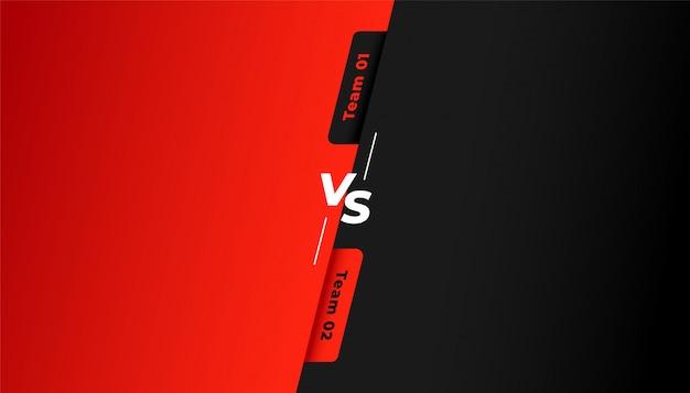 Versus vs background para equipe vermelha e preta Vetor grátis