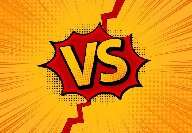 Versus vs letras lutam com fundos em design de estilo quadrinhos plana com meio-tom, raios. Vetor Premium