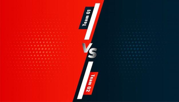 Versus vs tela de fundo entre duas equipes Vetor grátis