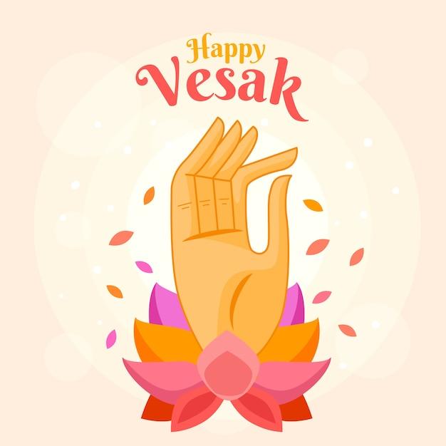 Vesak feliz com mão e lotus Vetor grátis