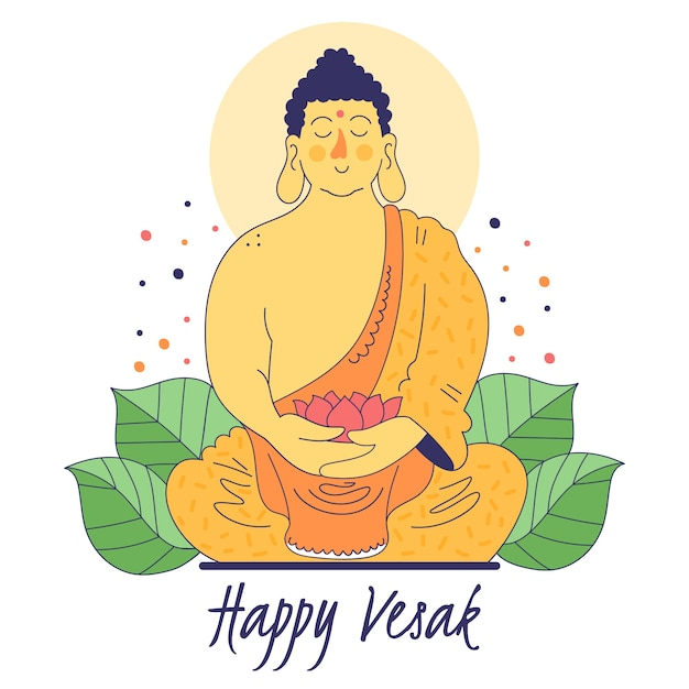 Vesak feliz com monge Vetor grátis