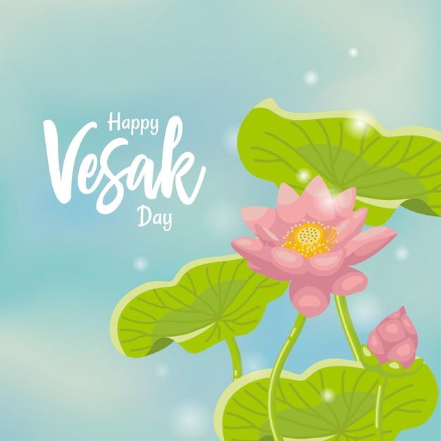 Vesak saudação cartaz com fundo de lótus Vetor Premium