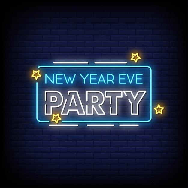Véspera de ano novo festa sinais de néon estilo texto Vetor Premium