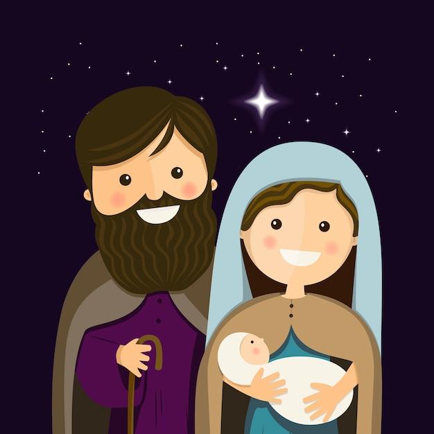 Véspera de natal com a sagrada família Vetor Premium