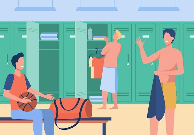 Vestiário do ginásio de esportes com ilustração vetorial plana de homens. time de futebol masculino dos desenhos animados, trocando de roupa para treinar. conceito de time de futebol e jogo de esporte Vetor grátis