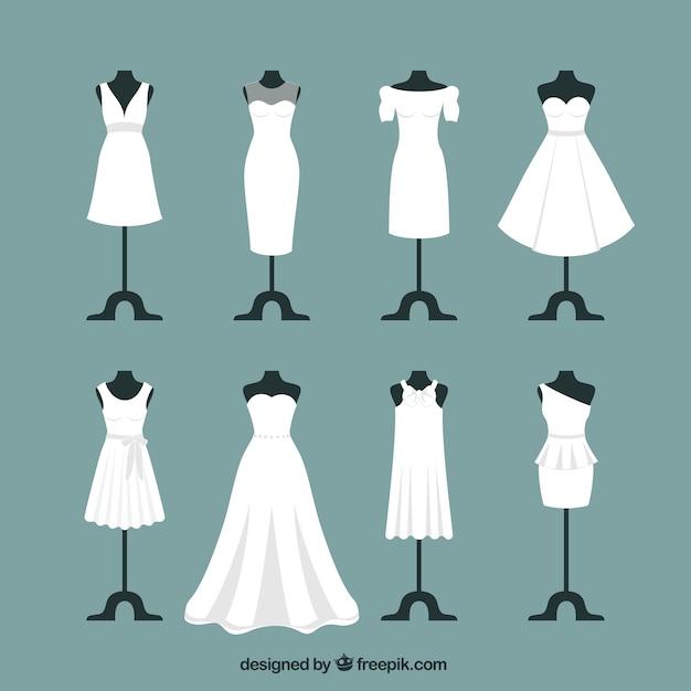 Vestidos de noiva Vetor Premium