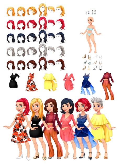 Vestidos e penteados jogo ilustração vetorial objetos isolados 6 penteados com 5 cores cada um 6 vestidos diferentes 5 cores dos olhos 6 sapatos Vetor grátis