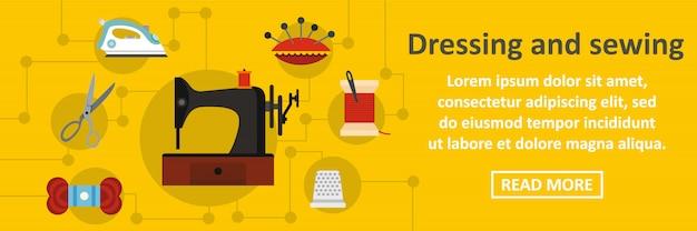 Vestir e costurar banner conceito horizontal Vetor Premium