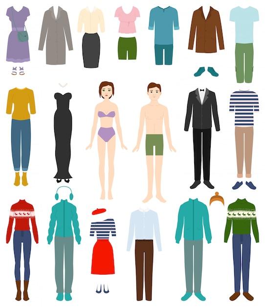 Vestuário vector mulher ou homem vestindo roupas e conjunto de ilustração de acessórios de moda feminina ou masculina de compras de vestuário ou vestuário Vetor Premium