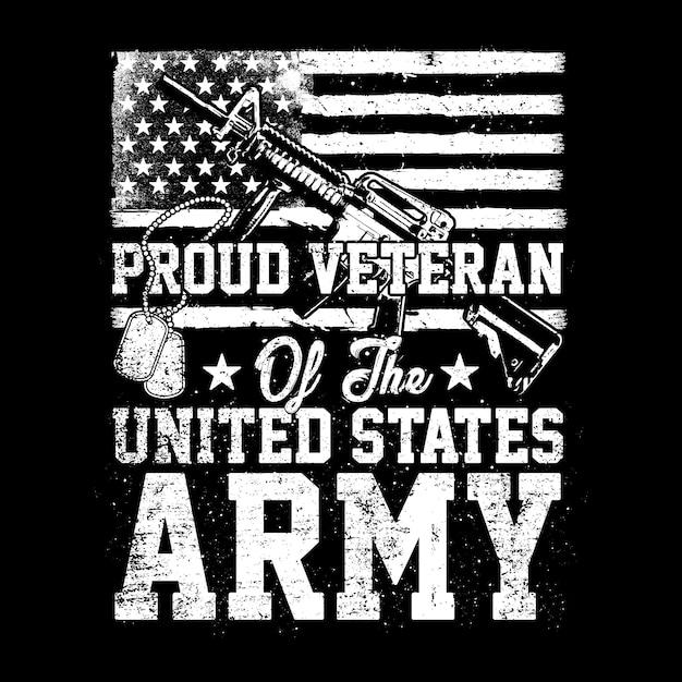 Veterano orgulhoso do exército dos eua, ilustração americana do veterano Vetor Premium