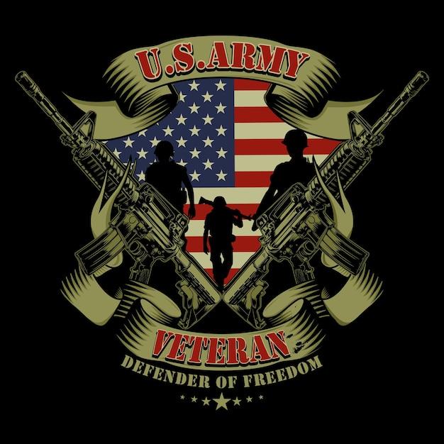 Veteranos do exército dos eua Vetor Premium