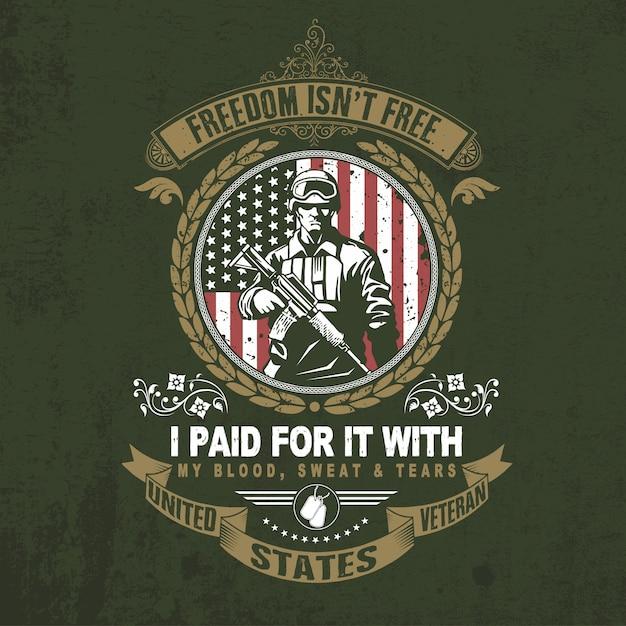 Veterans design independência dia cita tipografia vector Vetor Premium