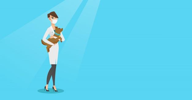 Veterinário com cachorro em ilustração vetorial de mãos Vetor Premium
