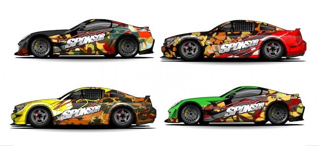 Vetor abstrato para corridas de carro envoltório design e decoração do veículo Vetor Premium