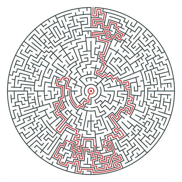 Vetor abstrato redondo labirinto de alta complexidade Vetor Premium