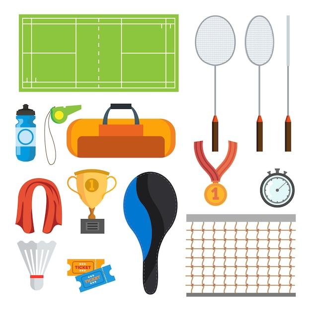 Vetor ajustado ícones do badminton. acessórios de badminton Vetor Premium