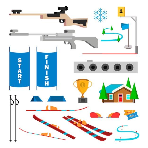 Vetor ajustado ícones do biathlon. acessórios para biatlo. alvo, gun, target, start, finish. desenhos animados lisos isolados Vetor Premium