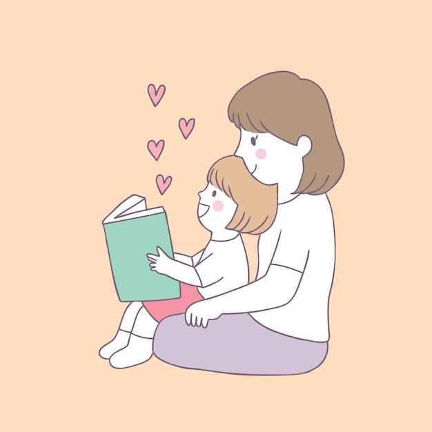 Vetor bonito do livro de leitura da mãe e da filha dos desenhos animados. Vetor Premium