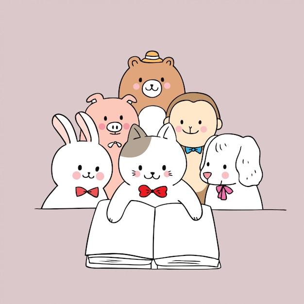 Vetor bonito do livro de leitura dos animais dos desenhos animados. Vetor Premium