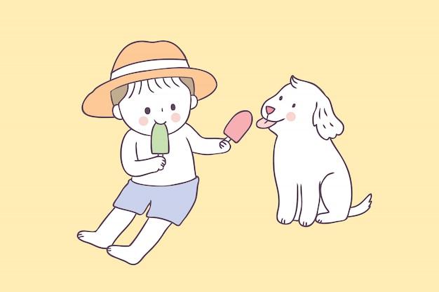 Vetor bonito do menino e do cão e do gelado do verão dos desenhos animados. Vetor Premium