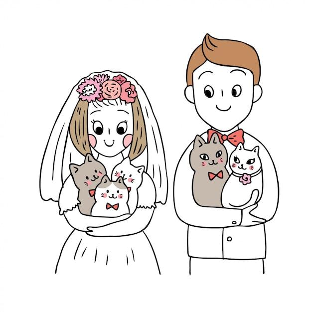 Vetor bonito dos gatos e do casamento dos desenhos animados. Vetor Premium