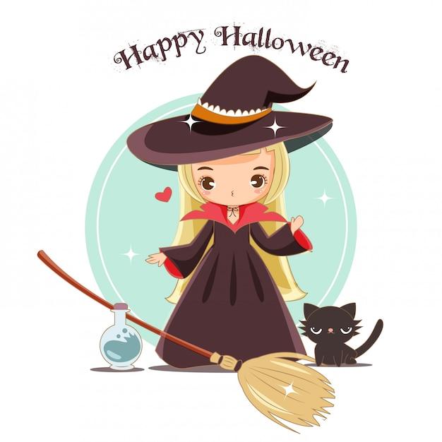 Vetor da bruxa bonito com conceito de halloween. Vetor Premium