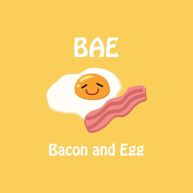 Vetor da ilustração do ovo e do bacon. Vetor Premium