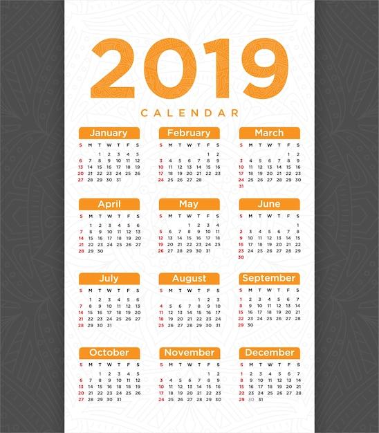 Vetor de 2018 ano novo modelo de calendário design Vetor Premium