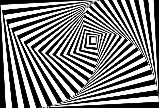 Vetor de 3d torcido ilusão de ótica em preto e branco Vetor Premium