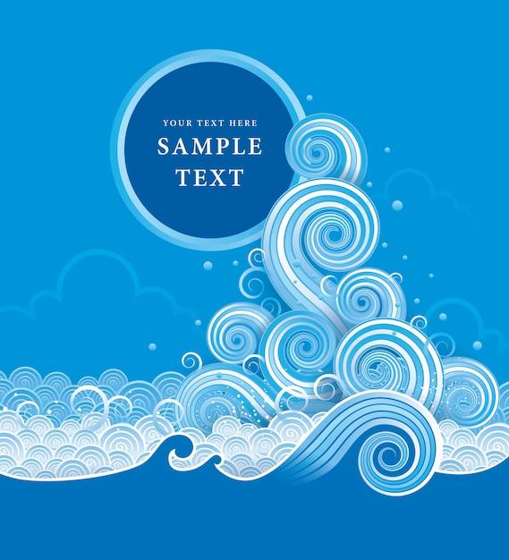 Vetor de água azul, elemento de design abstrato onda Vetor Premium