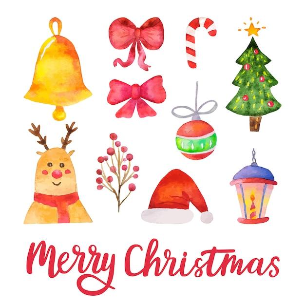 Vetor de aquarela elementos de design de feliz natal. mão-extraídas conjunto tradicional de férias. ilustração vetorial Vetor Premium