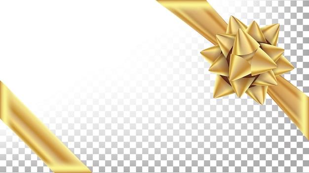 Vetor de arco de ouro. arco largo luxuoso do presente Vetor Premium