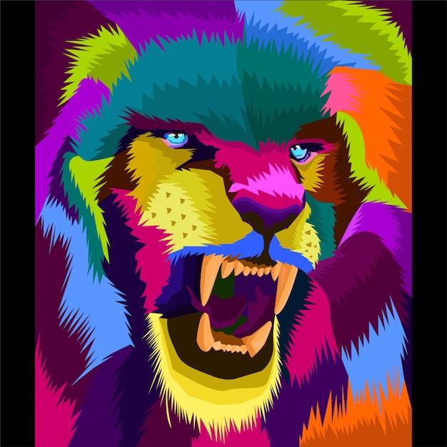 Vetor de arte de leão colorfull Vetor Premium