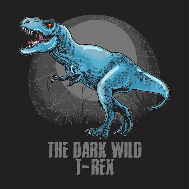 Vetor de arte finala da cabeça t-rex dinosaur wild Vetor Premium