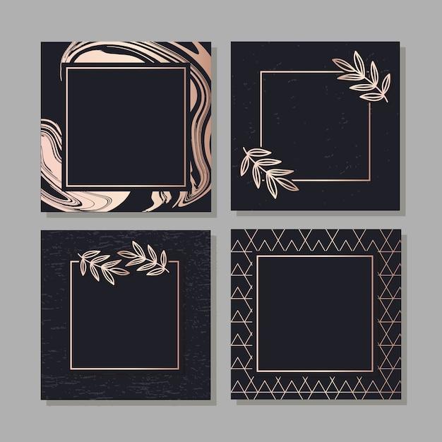 Vetor de arte padrão quadro dourado deixa fundo elegante Vetor Premium