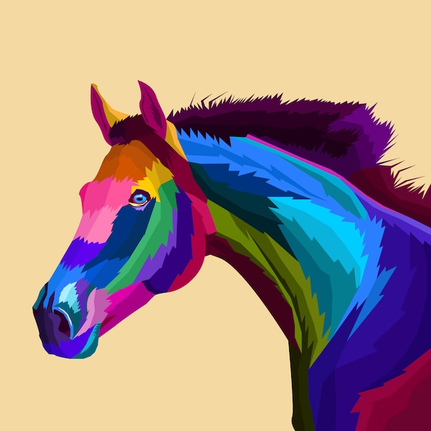 Vetor de arte pop de cavalo colorido Vetor Premium