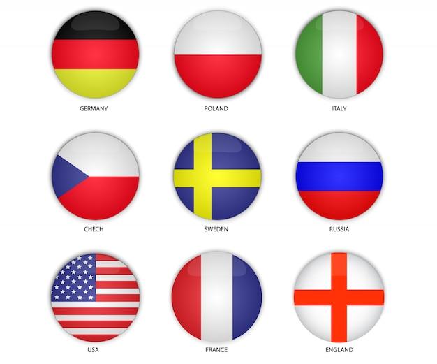 Vetor de bandeira nacional de botão redondo Vetor Premium