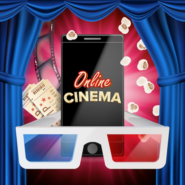 Vetor de banner de cinema on-line. telefone inteligente realista. cortina azul. teatro. cinema online Vetor Premium