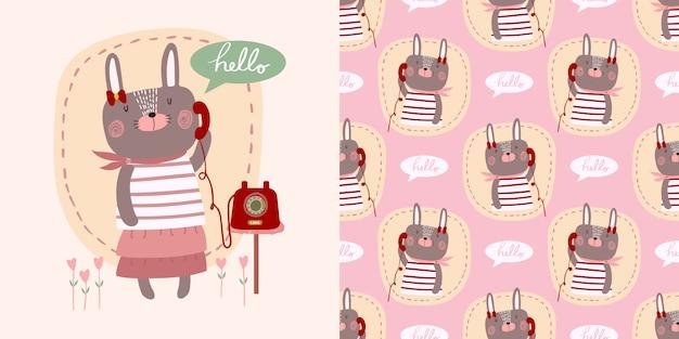 Vetor de bonito dos desenhos animados olá menina de coelho pequeno coelho com telefone decorado com coração Vetor Premium
