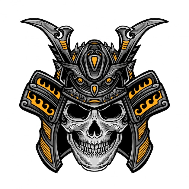 Vetor de cabeça de crânio de samurai Vetor Premium